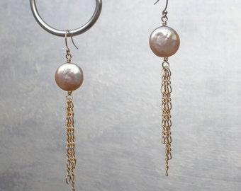 Peach Coin Pearl earrings w Gold Filled chains