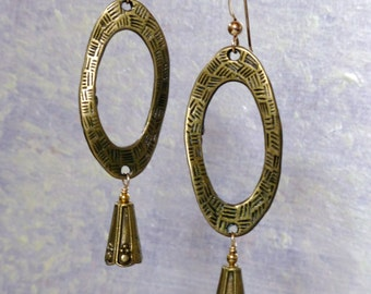 Embossed Pewter Oval Earrings on Gold-Filled Earwires