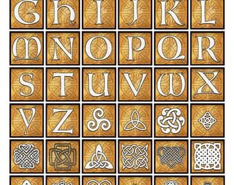 "Celtic Letters & Symbols Digital Collage Sheet - 1.25"" x 1.25"" Square"