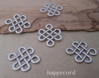 40pcs of antique silver Chinese knot Charms pendant 15mm