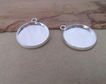 10pcs  silver color (copper) Round Cabochon Pendant Base 20mm