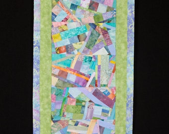 Contemporary Art Quilt Collage Wallhanging in Green Peach Blue/FREE SHIPPING