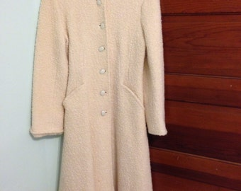 "Vintage ""Winter Wonderland"" ivory boucle coat Princess fit"