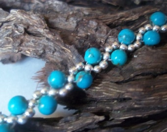 "Turquoise & sterling silver ""Wavy"" bracelet"