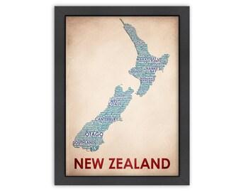 New Zealand Word Map, 100% Original Design from Flatiron Design