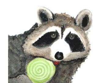Nursery Art, Christmas Raccoon Print from Watercolor Painting, 5 x 5