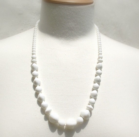 white glass necklace beaded glass necklace 50 s