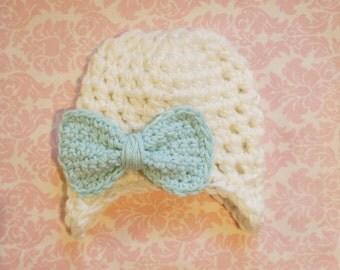 Light Cream Bow earflap/ baby girl hat/ newborn hat