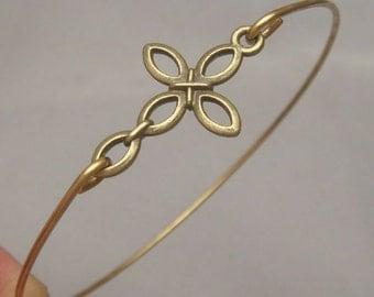 Cross Brass Bangle Bracelet