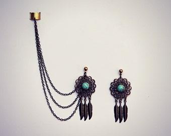 ear cuff dream catcher earrings, ear cuff with chains, tribal ear cuff, feather ear cuff, turquoise earrings