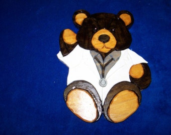 Wooden Doctor Teddy Bear Wall Hanging