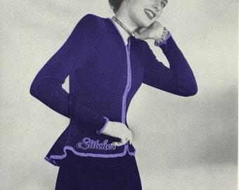 1940s Peplum Zip Front Blouse Jacket with Skirt Suit  - Knit pattern PDF 1380