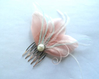 CHERI Light Pink, Mint, and Ivory Feather Hair Comb, Purple Bridal Hair Comb