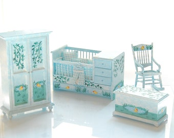 JUST DUCKY Hand-Painted Miniature Nursery Crib Set - Baby Boy - Country Pond Scene 1:12 Custom Dressed Hand Painted