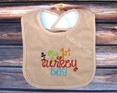 First Thanksgiving bib, first turkey bib, boy version, embroidered holiday bib - GiftsbyGita
