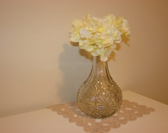 Vintage Clear Glass Vase, Clear Glass Flower Vase