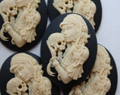 DAY of the DEAD Sugar Skull Skeleton Lady Cameo Cabs Cabochon Day of the Dead Dia de los Muertos Skull Black Ivory 40x30mm 5 PIECES