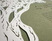 Oak Tree papercut ketubah