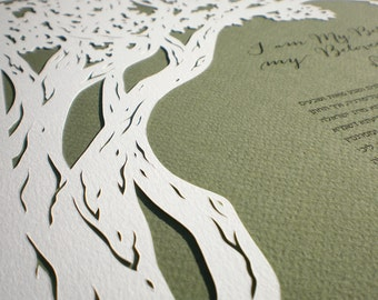 Oak Tree papercut ketubah | wedding vows | anniversary gift