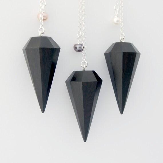 Ebony diamond necklace - Light version -  Sterling and ebony necklace