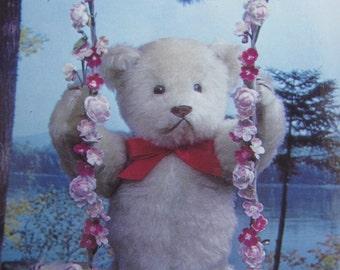 Teddy Bear Postcard  -  Springtime Swing - Vintage 1980s