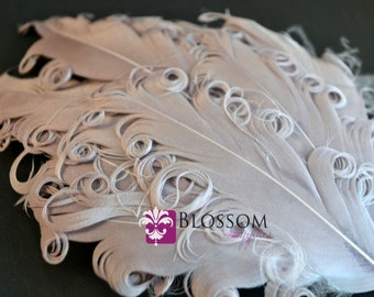 1 Curly Nagorie Feather Pad - Goose Feather Pad - Gray