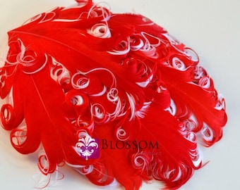 CLEARANCE 1 Curly Nagorie Feather Pad - Goose Feather Pad - Red on White - DIY Feather Headband - Christmas Valentine's Day Curly Feathers