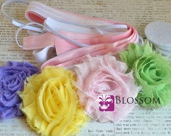 DIY Headband Making Kit - Spring Pastels Collection - Chiffon Frayed Flowers - Shabby Rose Trim - Flower Headbands - Pink Lavender Mint