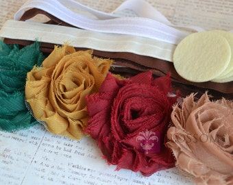 DIY Headband Making Kit - Autumn Collection - Chiffon Frayed Flowers - Shabby Rose Trim - Flower Headbands - Fall Colors - Gold Red Green