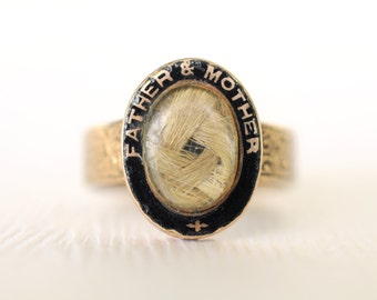 SOLD/// On sale 1800's Antique Victorian mourning / blonde hair 9k gold ring / black enamel / FATHER & MOTHER
