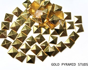 Gold Square Pyramid Spike Rivets Studs for Iron On, Hot Fix 7 mm