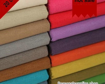 Plain Linen Fabric Solid Cotton Pure Linen Fabric Solid Grey Brown Blue Red Pink Purple Black Natural Beige Yellow Fabric - 1/2 yard (QT158)