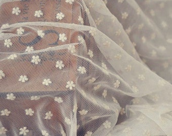 BIG SALE-----Half Yard,Plum Flower,Floral Lace,Fabric,Embroidery,Wedding, off White Color,Sewing,Bridal stretch fabirc (W67)