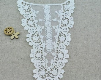 White Collar Lace,Embroidery, Appliques, Back Collar, Fabric,Diy,Sewing (CA19)