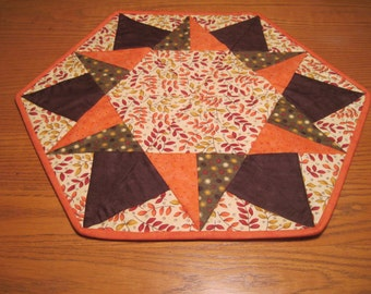 Hexagon Autumn Table Topper, autumn table runner, orange, green, brown table topper, hostess gift
