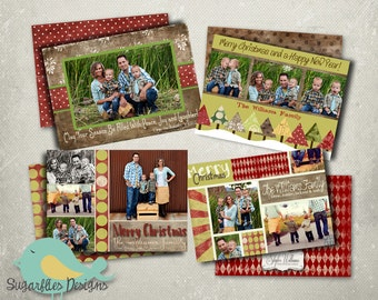 Christmas Card Template PHOTOSHOP TEMPLATE - Holiday Rustic 4 Pack
