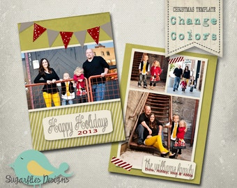Christmas Card PHOTOSHOP TEMPLATE - Family Christmas Card 79