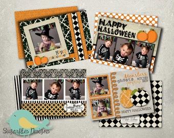 Halloween Card PHOTOSHOP TEMPLATE  - Vintage Halloween 4 Pack