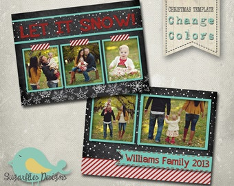 Christmas Card PHOTOSHOP TEMPLATE - Family Christmas Card 105