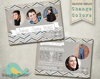 Graduation Announcement PHOTOSHOP TEMPLATE - Senior Graduation 27