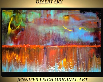 Original Large Abstract Painting Modern Contemporary Canvas Art Red Blue Orange DESERT SKY 36x24 Palette Knife Texture Oil J.LEIGH