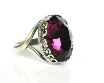 Victorian Gothic Solitaire Ring - Purple Swarovski Engagement Ring - Victorian Gothic Wedding Jewelry