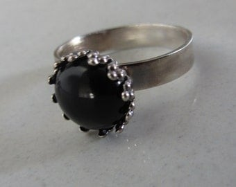 ONYX Silver Ring - Stacking Ring - Size 8