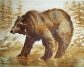 Espresso Bear, Coffee Painting, Original 9 x12