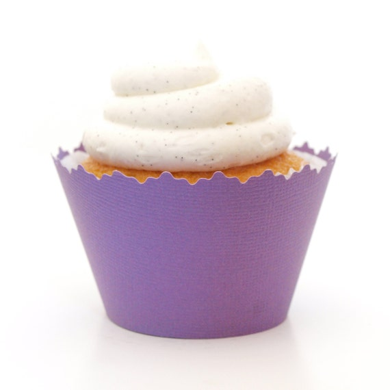 Pansy Purple Solid Color Textured Cupcake Wrappers - Set of 12 - SW023 ...