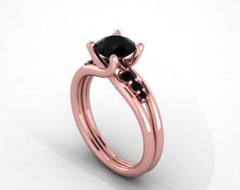 black diamonds rose gold engagement ring, , style 88RGBL