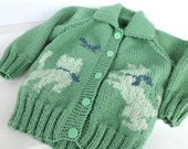 Hand Knit Green Playful Kitten Cardigan Child Size 2