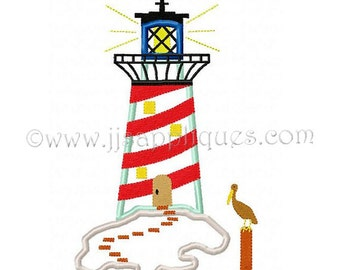 Instant Download - Lighthouse Embroidery Applique Design Beach Coastal Embroidery Applique Design 4x4, 5x7, 6x10 hoops