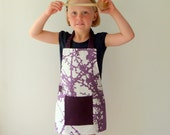 Funky Child's Apron, Montessori Style, Unusual, Modern Purple and White Fabric - LilaKids