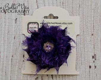READY TO SHIP Purple Flower Clip, Purple Shabby Chic Hair Clip, Flower Hair Clip, Rhinestone Hair Clip, Baby Hair Clip